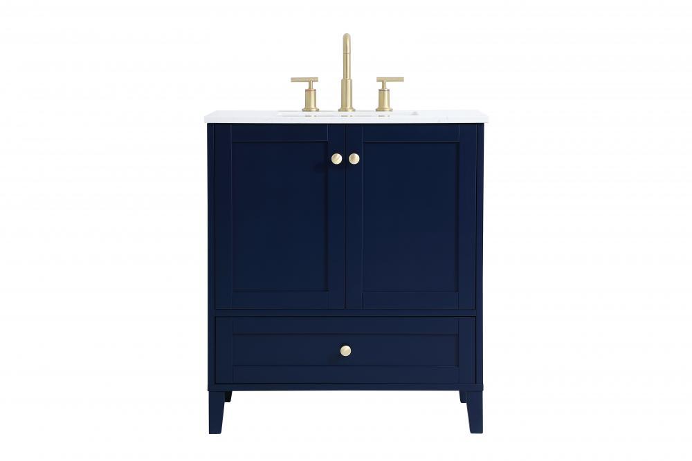 30 inch single bathroom vanity in blue