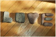 L-O-V-E spelled with stones