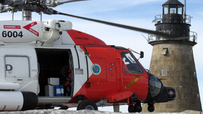 Mt Desert Rock Lighthouse and USCG helicopter