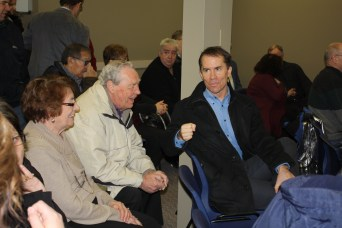 Jean and Joe Donauer chat with fellow board member Barry Remai at the opening of The Lighthouse North Battleford.