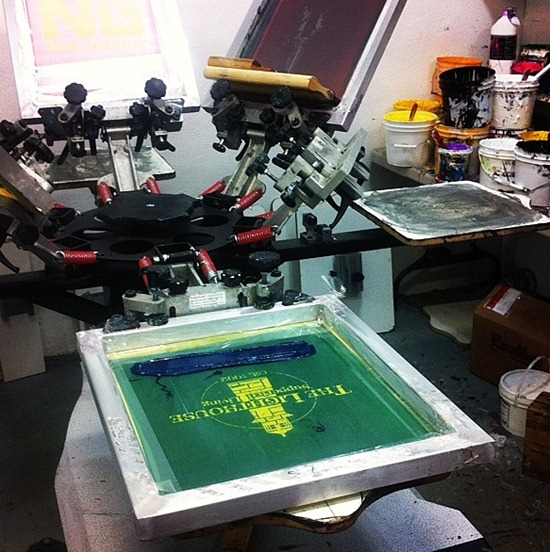 The Lighthouse's 20th Anniversary T-Shirts being made by hand at Hardpressed Studios