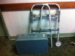 Suitcase and walker - off to the care home