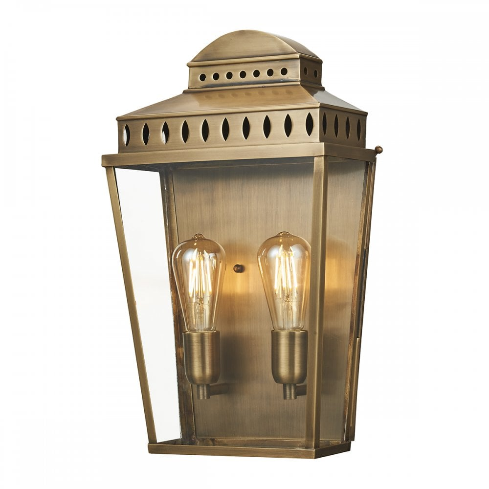 mansion house large 2 light traditional exterior wall lantern aged brass