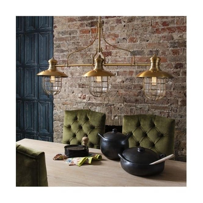 anderson vintage 3 light ceiling bar pendant in brass