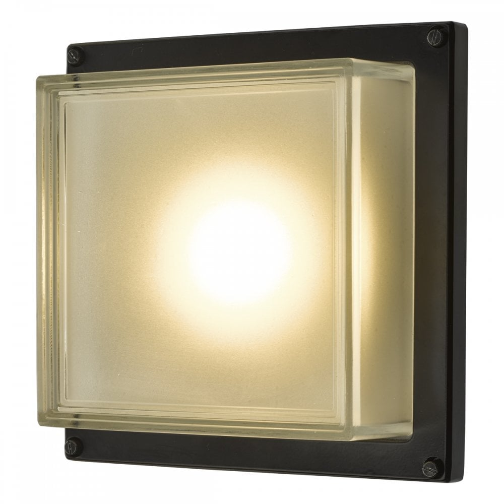 aquilina squared outdoor led wall light in black with frosted glass