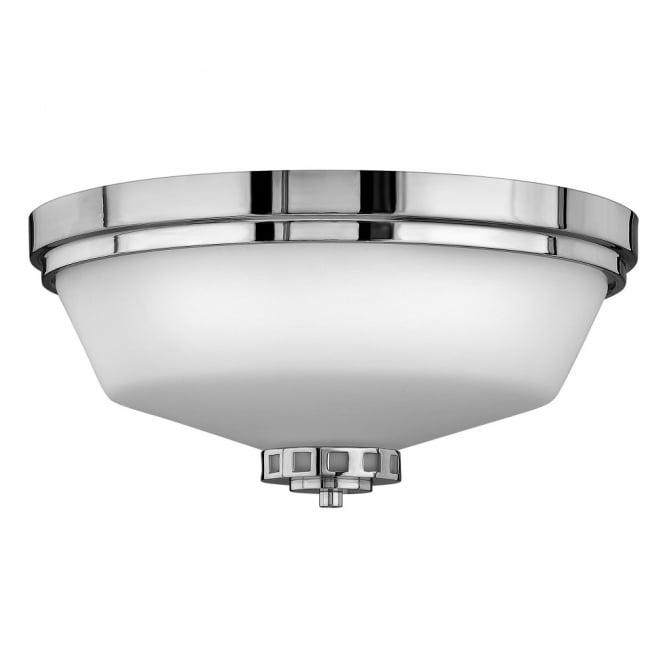 ashley classic art deco inspired flush bathroom ceiling light in chrome with opal glass