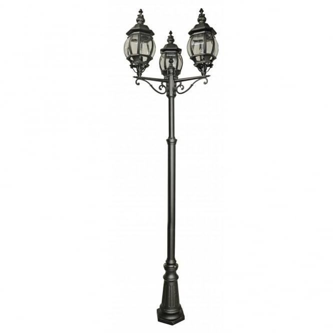 belle aire black aluminium 3 light garden lamp post