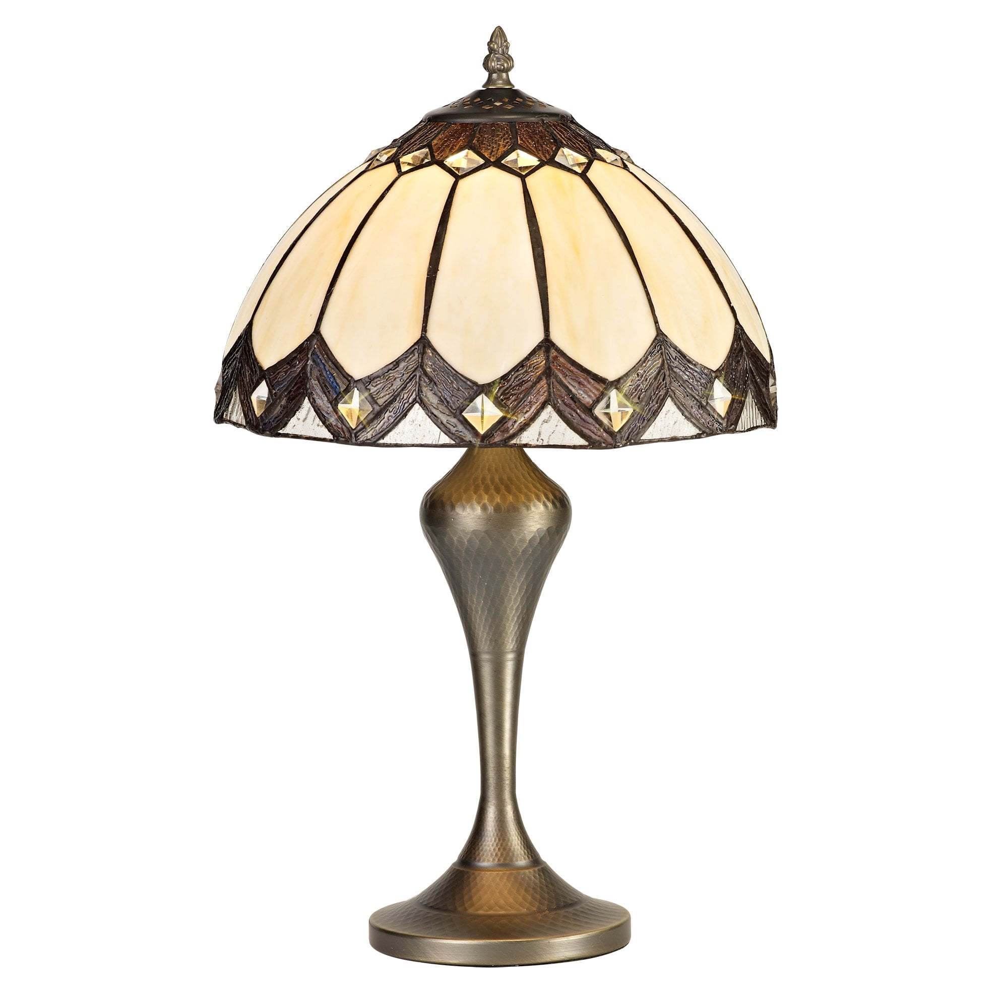 Brown And Cream Tiffany Style Glass Table Lamp With Brass Finish Base