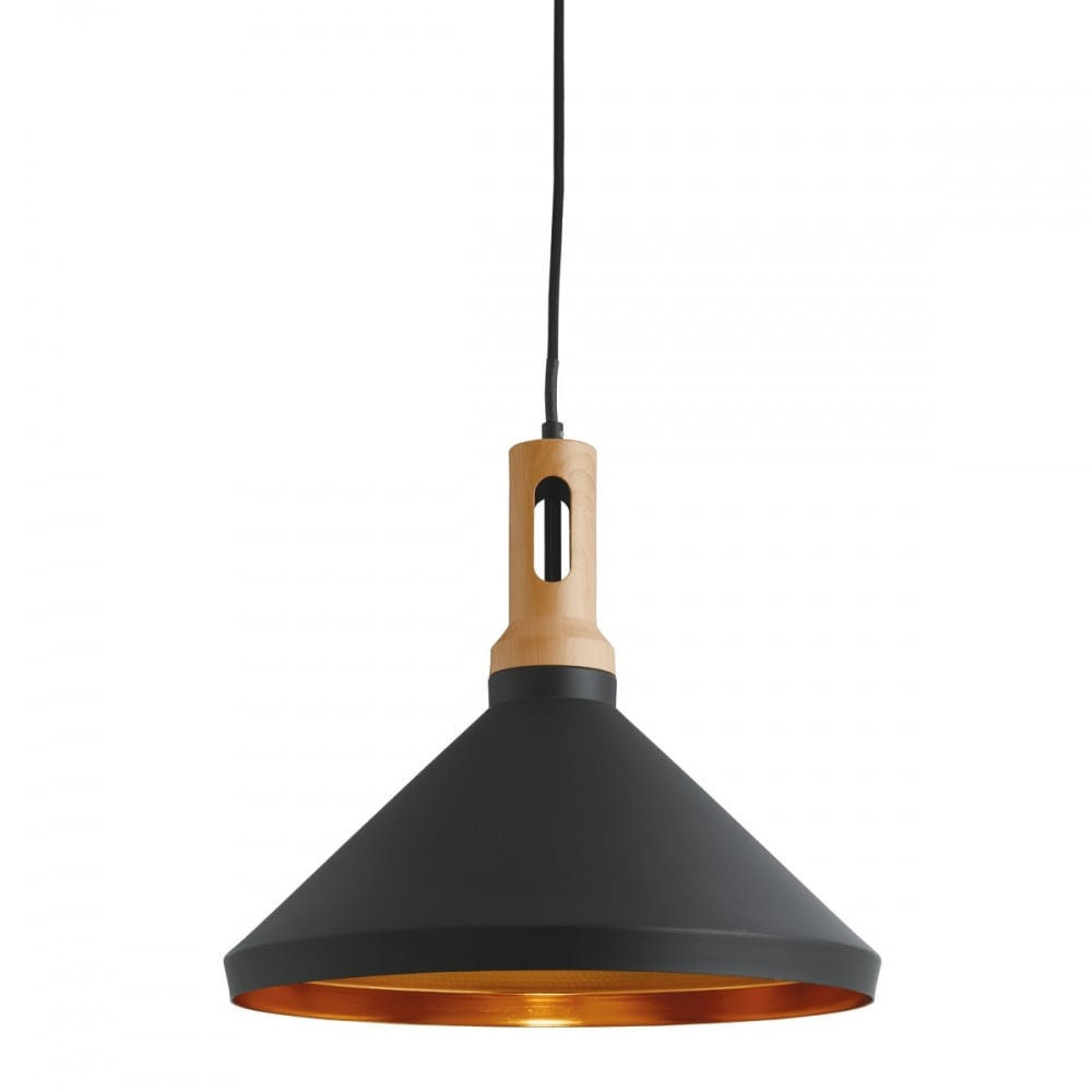 cone contemporary pendant with black outer gold inner and wooden finial