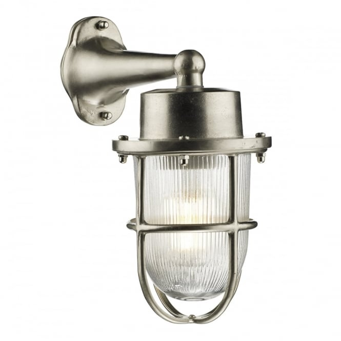 harbour coastal style exterior wall light in a nickel finish with ribbed glass