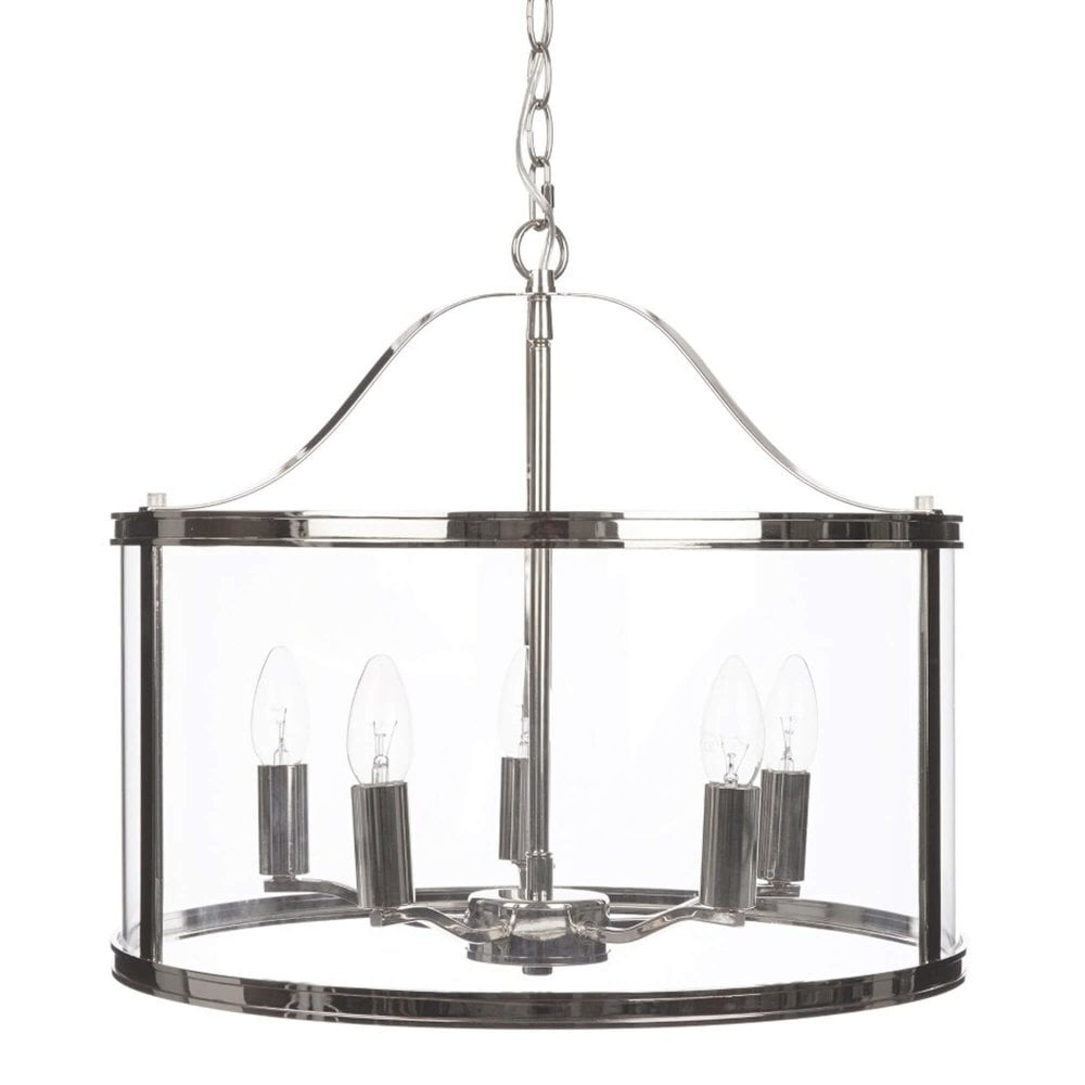 harrington 5 light pendant in polished nickel and glass