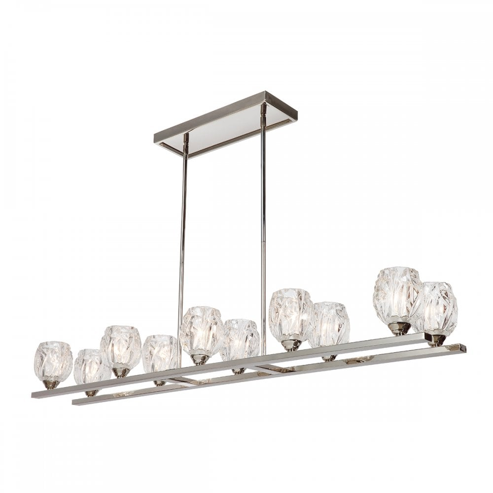 rubin 10 light island chandelier in polished nickel with faceted glass shades