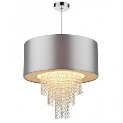 Lopez Easy Fit Non Electric Silver Faux Silk Ceiling Shade LOPEZ easy fit silver faux silk ceiling light shade