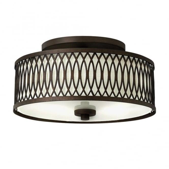 walden elegant patterned flush mount rustic ceiling light in bronze with inner shade
