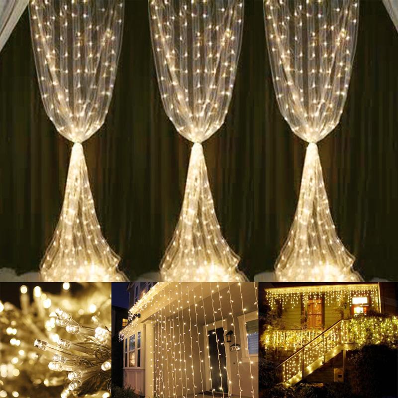 Warm White Curtain Fairy Lights 594 LEDs 6000K IP44