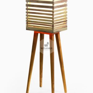 Radio Floor Lamp On | Wooden Floor Lamp | Wooden Home Decor | High Floor Lamp | Tripod Wooden Floor Lamp