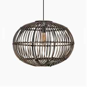 Sommerset Hanging Lamp- Natural Rattan Pendant Lamp Off Large Black Wash