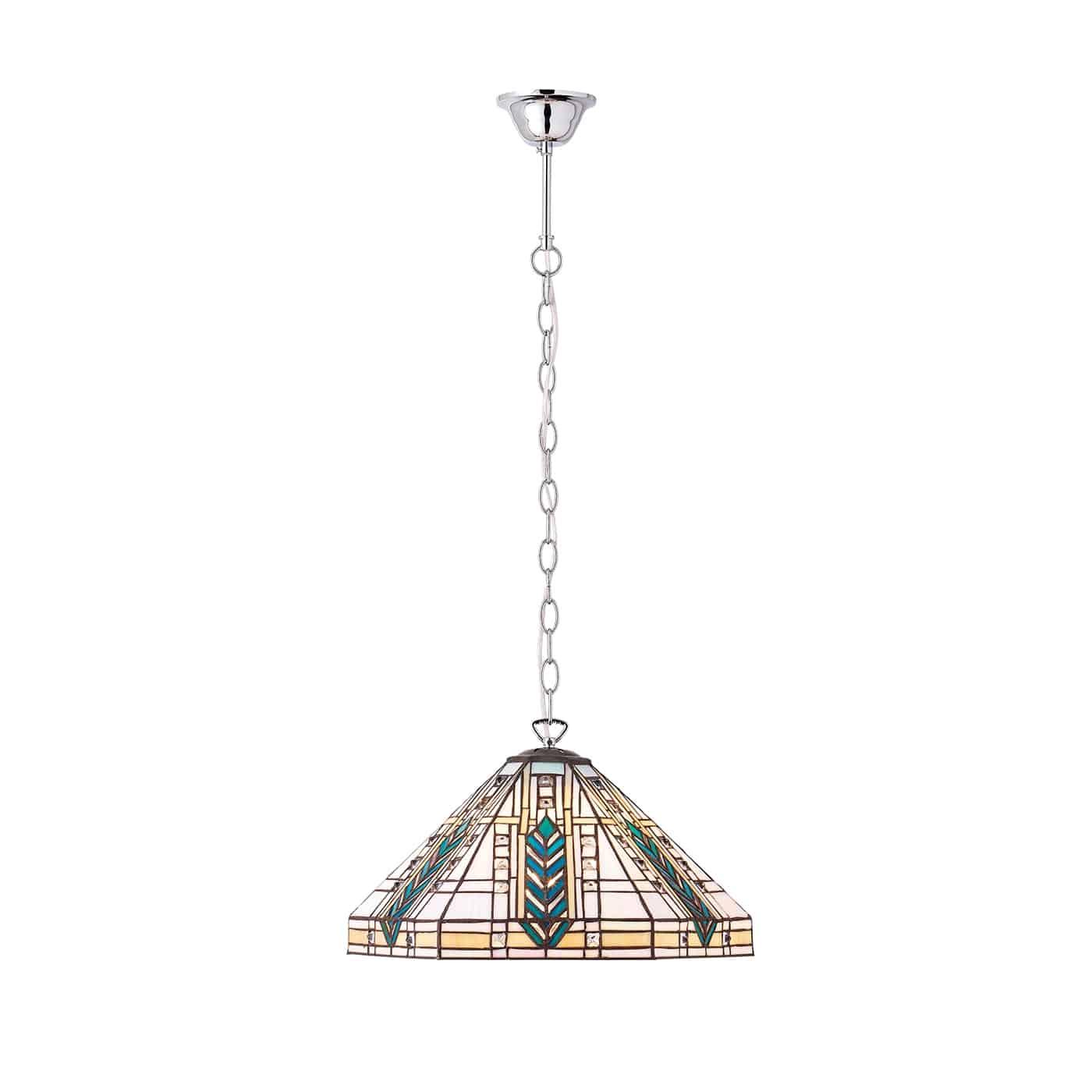 Interiors Lloyd Polished Chrome 1 Light Tiffany