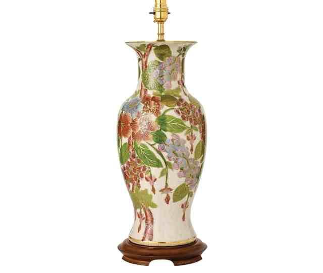 Interiors  Rj Hand Painted Kutani Fogloves Uk Base Only Table Lamp