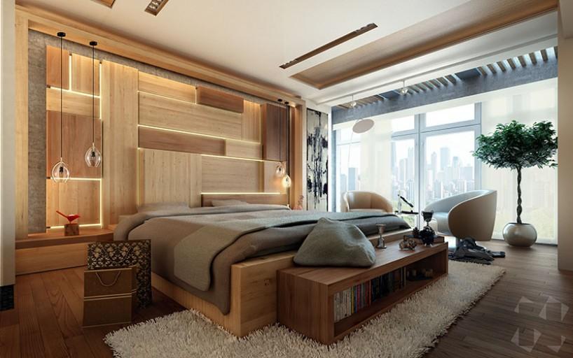modern bedroom with hidden lighting