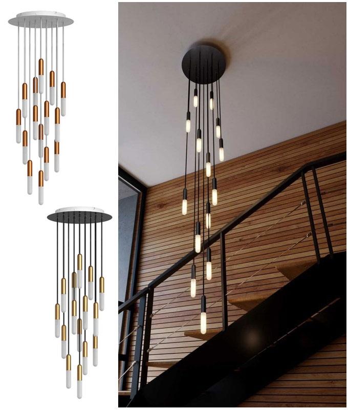 long drop 15 light pendant inc tubular lamps