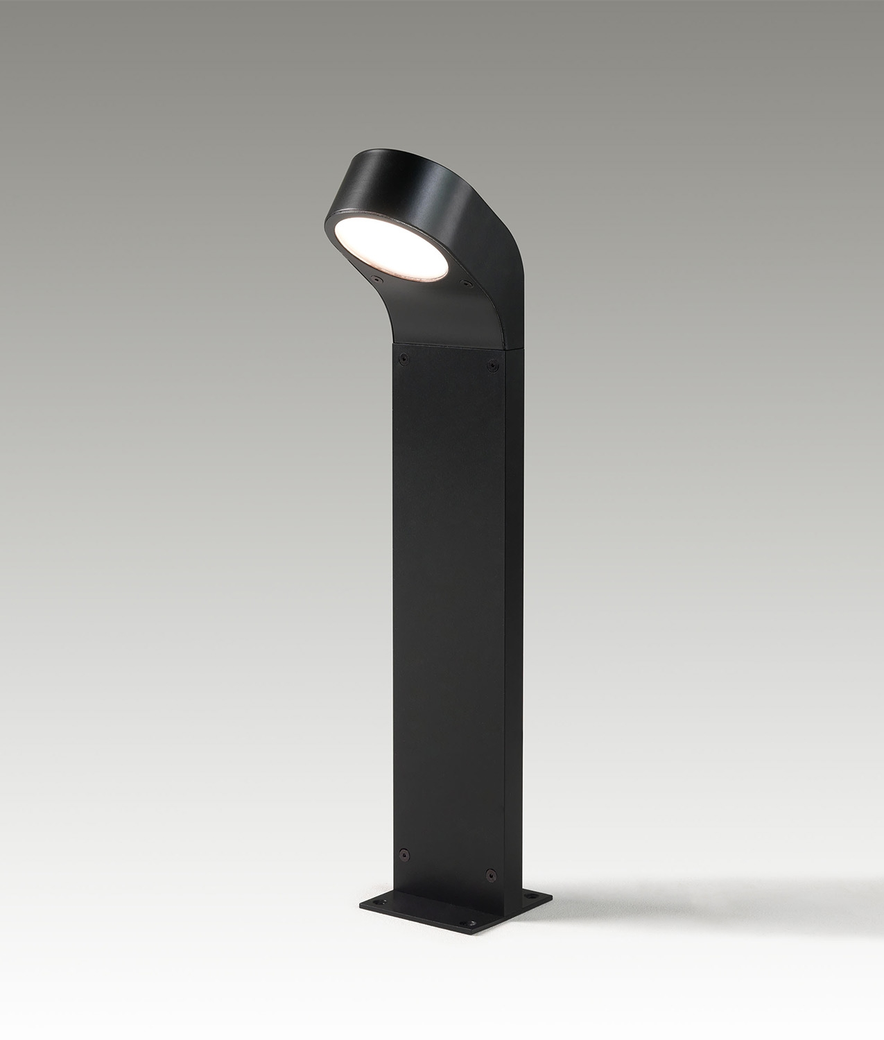 Modern Black Painted Low Glare Hockey Stick Shaped Bollard