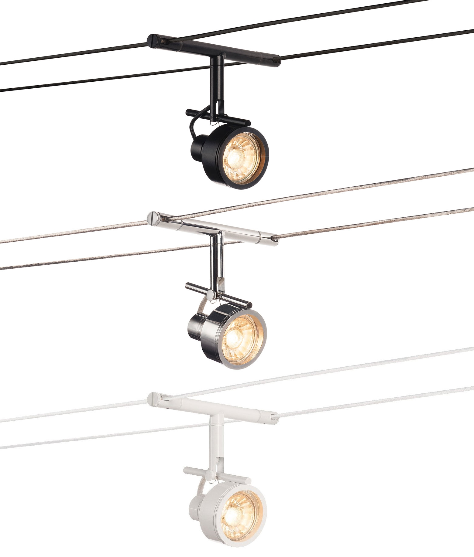 Tension Wire Adjustable Lampholder Available In Chrome Black Or White