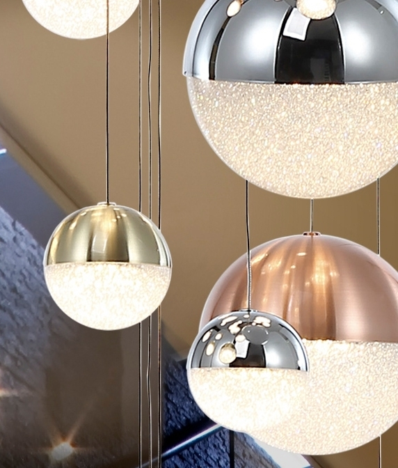 27 Led Long Drop Glitter Ball Pendant Chrome Nickel And