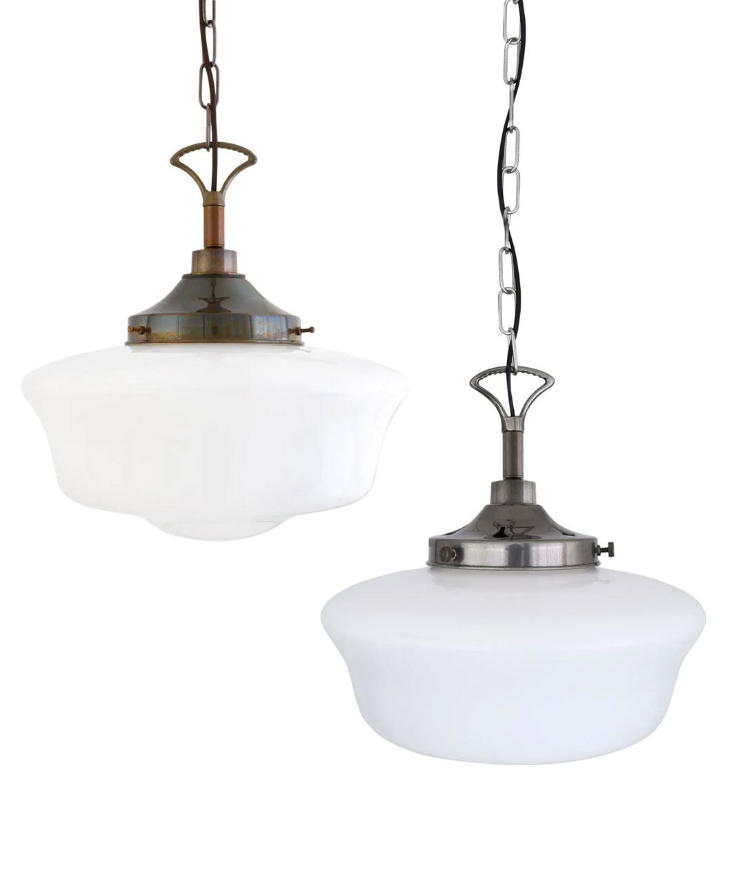 vintage schoolhouse style duplex glass light pendant suitable for bathrooms