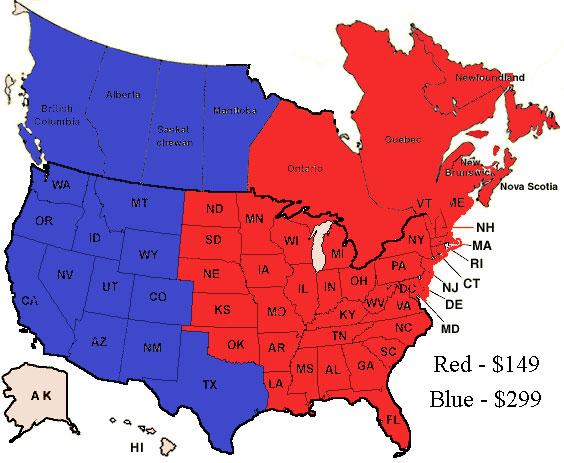 US and canada shipping rate map