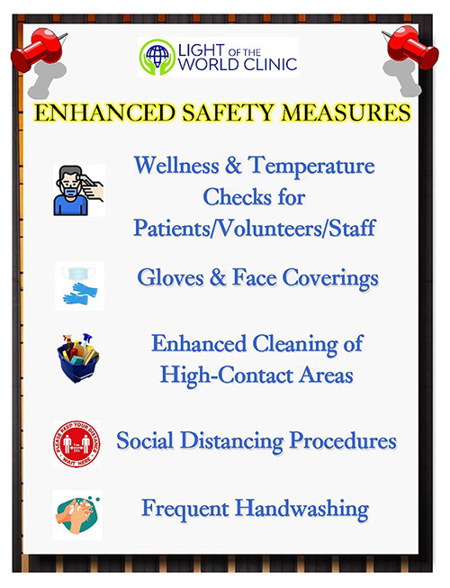 Light Of The World Clinic Covid-19 Enhanced Safety Measures Graphic instructions image