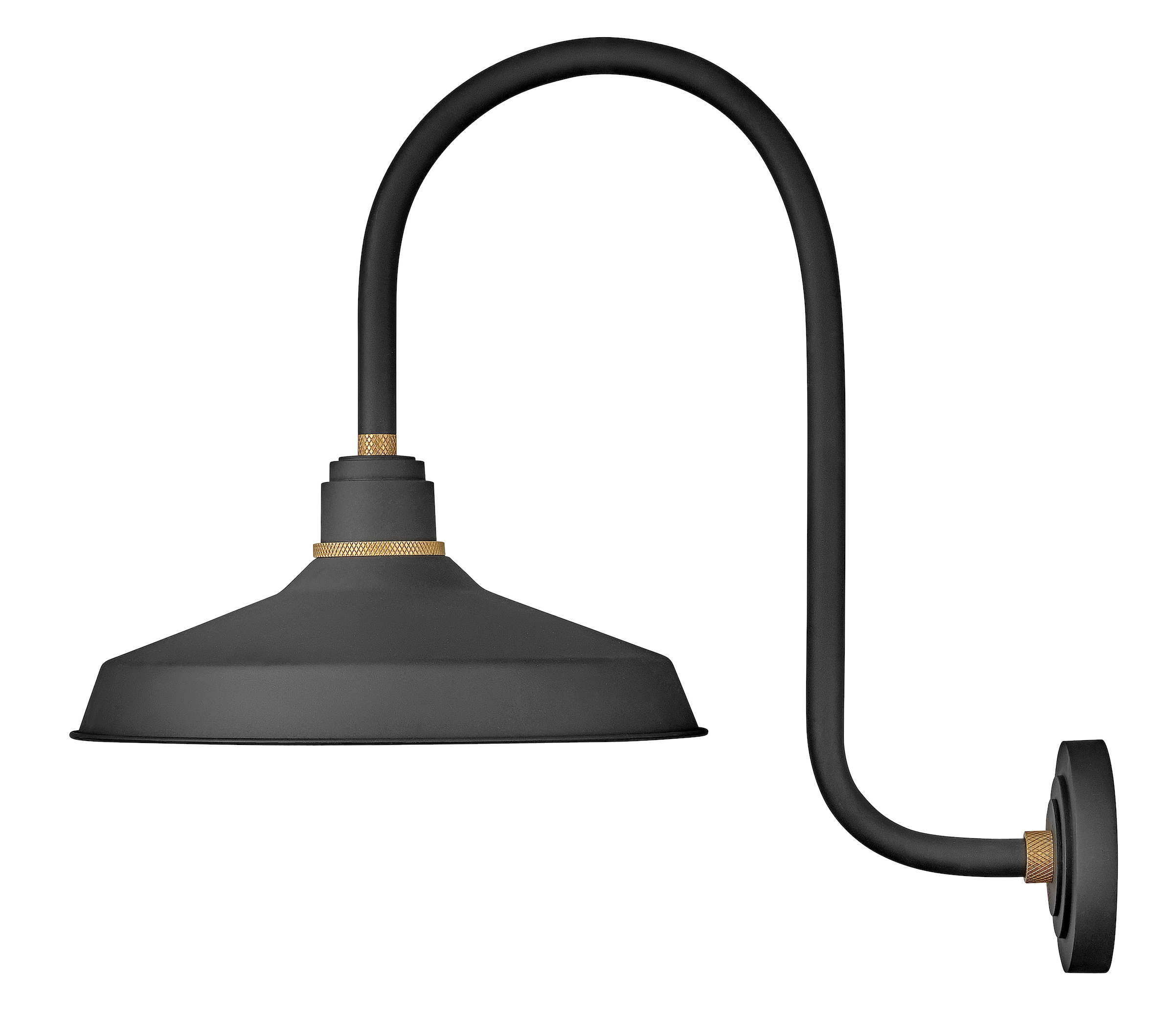 foundry outdoor 16 inch industrial shade hook arm wall light by hinkley lighting 10473tk