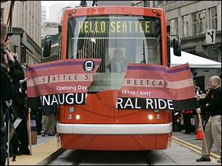 The Seattle Streetcar on its Opening Day