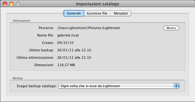 05 lightroom catalogo backup impostazioni