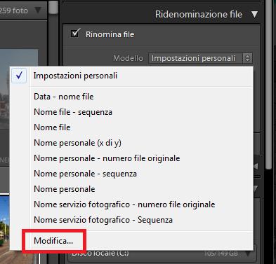 02 lightroom rinominare nome file immagini foto libreria importazione esportazione automatico