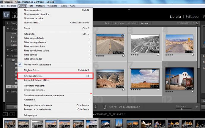 05 lightroom rinominare nome file immagini foto libreria importazione esportazione automatico