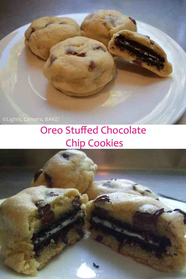 Oreo Stuffed Chocolate Chip Cookies. Oreo inside a soft chocolate chip cookie.... What's not to love?! Click the photo for the #recipe
