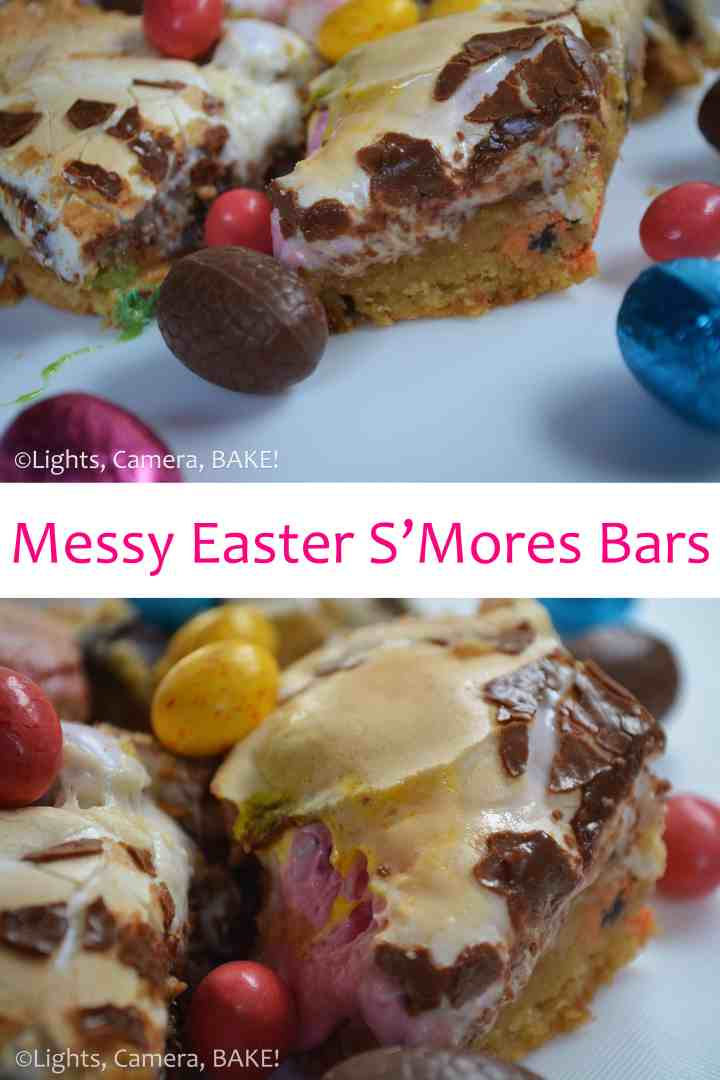 Stuck for what to make at Easter? Try these Messy Easter S'mores Bars. Click the photo for the #recipe #eastereggs #baking