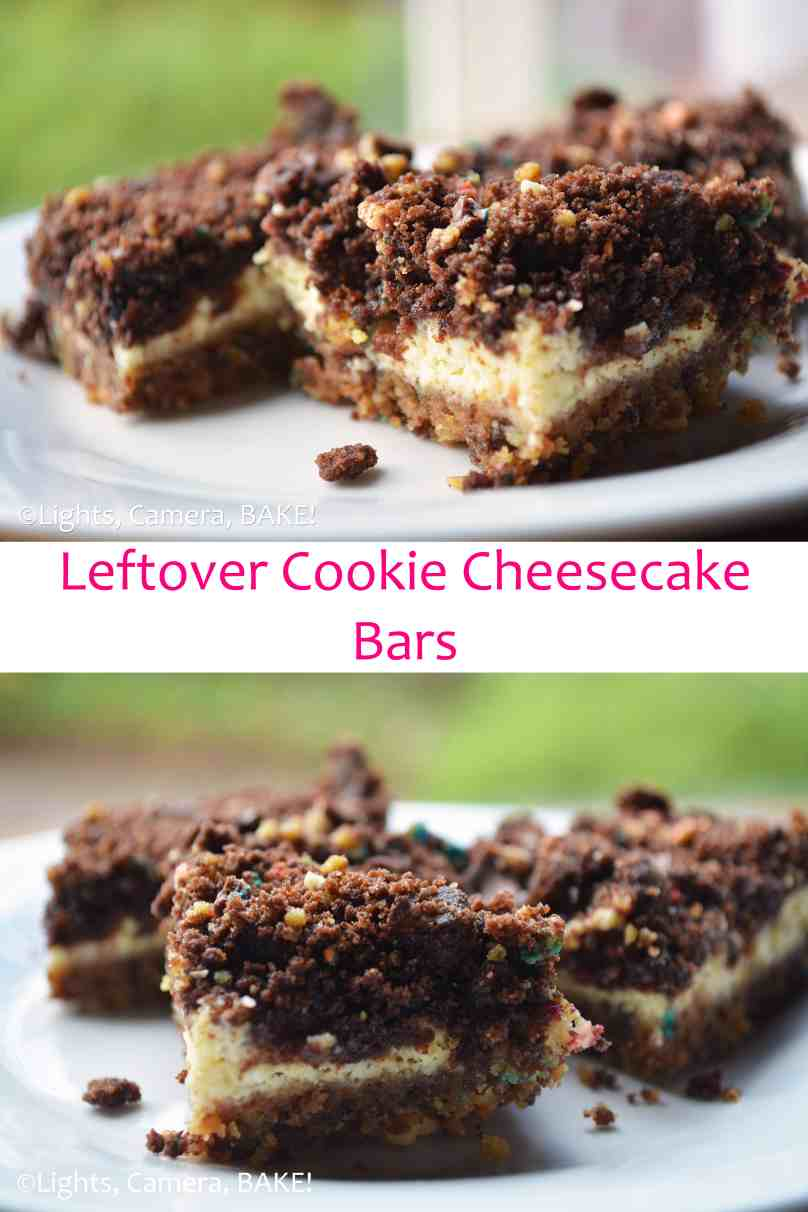 Leftover Cookies #Cheesecake Bars. I admit, that is an odd name. Though, this is an odd recipe. Click the photo for the recipe and explanation. Trust me, you will want to! #leftovers #dessert