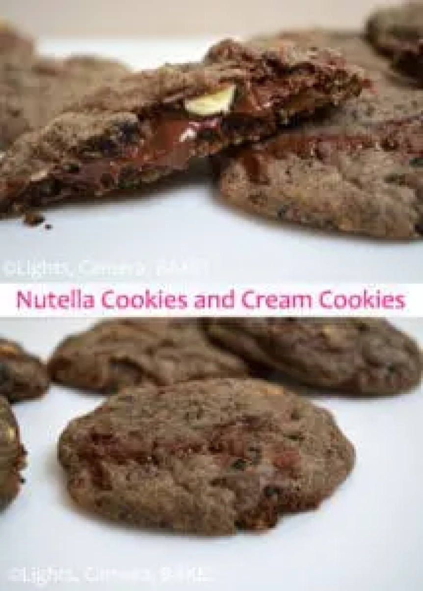 Nutella Stuffed Cookies and Cream Cookies. Lusciously soft and chewy cookeis with crushed oreos and white chocolate chips mixed through stuffed with gooey Nutella! It doesn't get much better than that! #nutellacookies #cookiesandcreamcookies #recipe