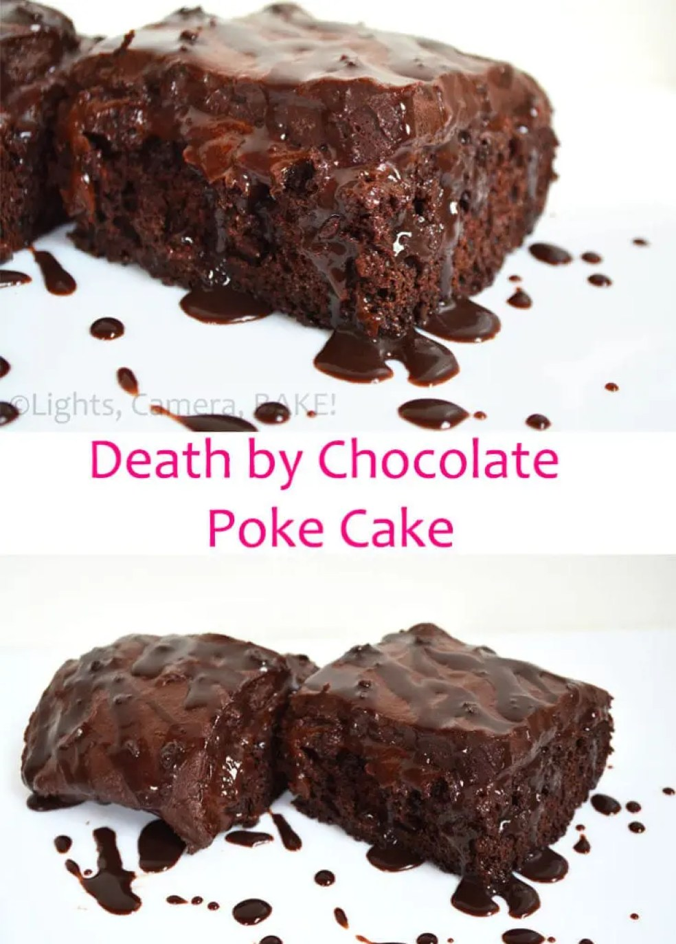 Death By Chocolate Poke Cake. A rich, dense chocolate cake, smothered in chocolate pudding, iced with chocolate buttercream icing and then topped with chocolate ganache! This is for the serious chocolate lovers! Click the photo for the #pokecakerecipe #deathbychocolatecake #chocolatepokecake