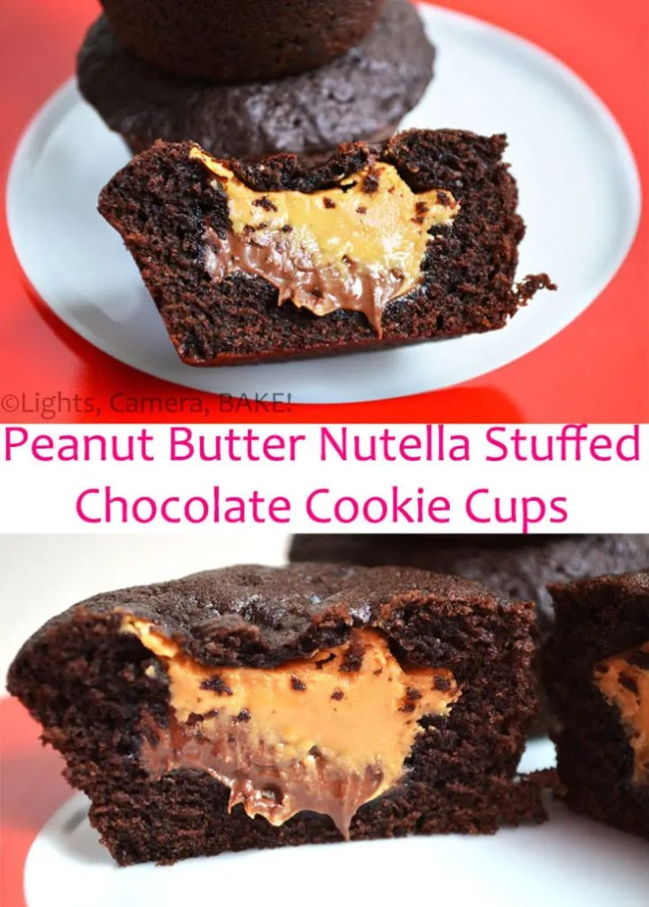 Peanut Butter Nutella Chocolate Cookie Cups. These are deep dish style chocolate cookies with oozing peanut butter and Nutella in the middle. A cross between cookies/cupcakes/lava cakes, this is something you definitely want to make! #peanutbutternutellacookies #chocolatecookiecups #cookiecupsrecipe