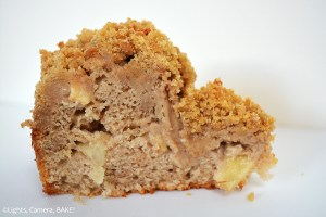 Apple Crumb Cake is a soft and fluffy cinnamon apple cake with a buttery crumb through the center and on top. Think of this as a delicious coffee cake. #coffeecakerecipe #cinnamonapplecake #applecrumbcake