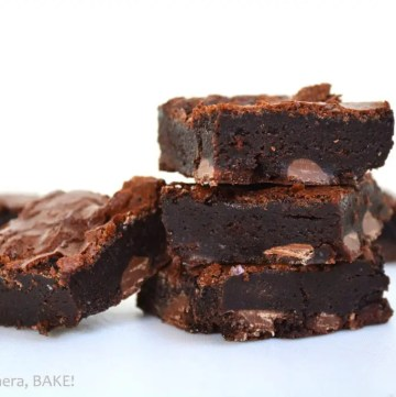 Flourless Fudge Brownies are naturally gluten free and are a no fail, rich, gooey, fudgy brownie with a crackly top. These are no fail and I've had so many requests for the recipe from family and friends. #flourlessbrownies #flourlessfudgebrownies #glutenfreebrownies