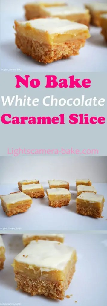 No Bake White Chocolate Caramel slice combines a crushed biscuit base (with a twist), a gooey, buttery caramel middle and a sweet white chocolate top! This is a slice you definitely want to have in your repertoire.