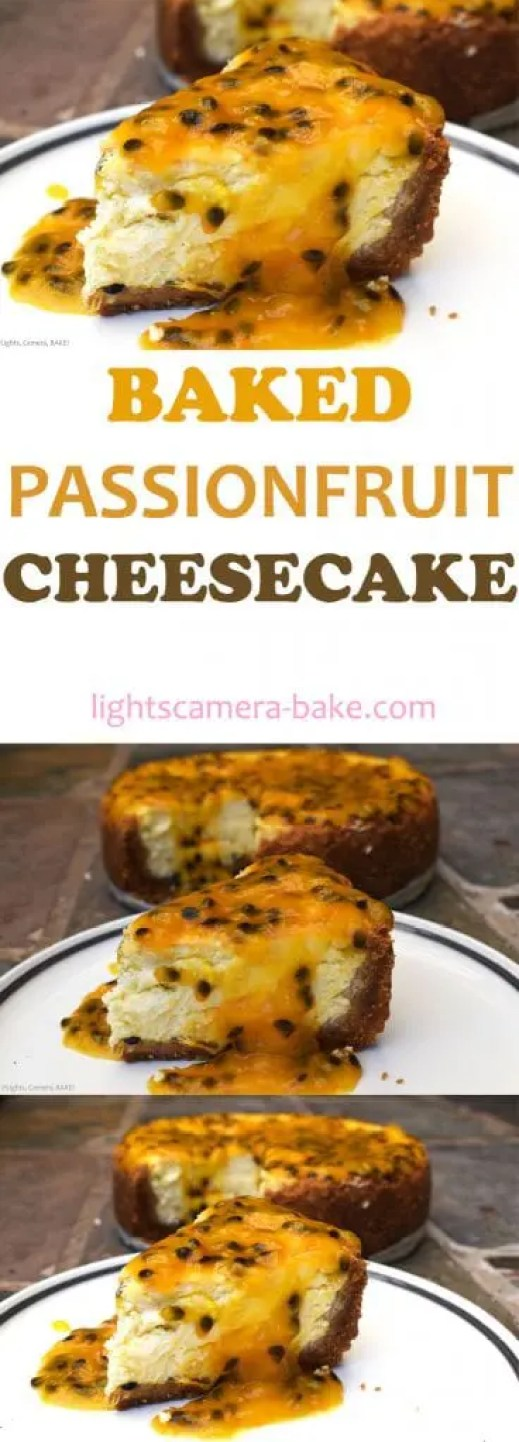 Baked Passionfruit Cheesecake is a soft and creamy baked cheesecake with fresh passionfruit swirled throughout and topped with more passionfruit! Sweet, creamy, refreshing and so easy to make. Your perfect summer dessert is this Baked Passionfruit Cheesecake!
