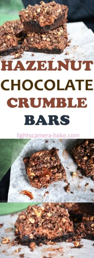 Hazelnut Chocolate Crumble Bars are a soft chocolate cookie base with a melting Nutella filling and topped with a chocolate and hazelnut crumble. #hazelnutcrumble #nutellabars #chocolatehazlenutslice #crumblebars