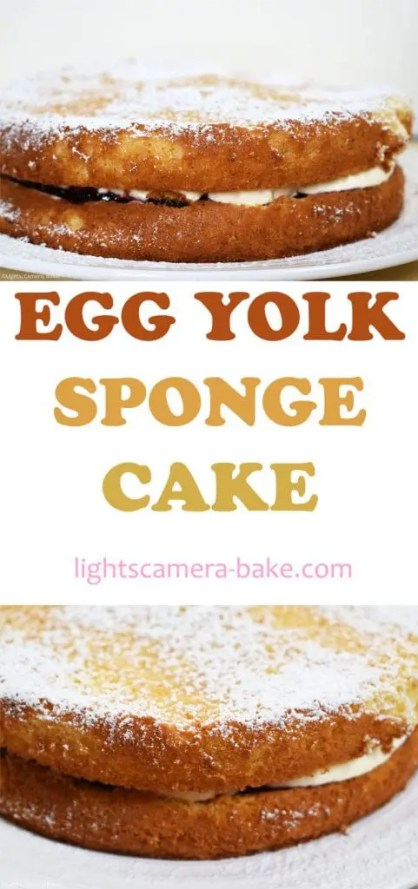 Egg Yolk Sponge Cake is a super light and fluffy sponge relying on egg yolks as the base which delivers a rich and fluffy sponge. Filled with whipped cream and jam, dusted with icing sugar and you have a classic sponge cake for dessert, morning tea or just for fun. #eggyolkspongecake #spongecake #spongecakerecipe #easycakerecipe