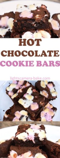 Hot Chocolate Cookie Bars are soft and chewy hot chocolate flavoured cookie bars filled with mini marshmallows for the ultimate comforting, late night treat! #hotchocolaterecipe #hotchocolatecookies #hotchocolatecookiebars #marshmallowbrownies #marshmallowcookies #chocolatecookiebars