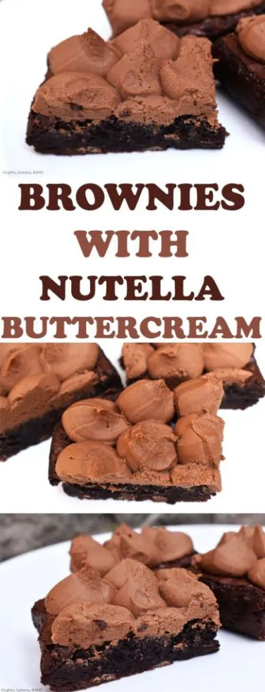 Chocolate Brownies with Nutella Buttercream are rich and dark chocolate fudgy brownies topped with a sweet and creamy Nutella buttercream. #nutellabrownies #thebestnutellabrownies #thebestbrownies #nutellabuttercream #nutellafrostedbrownies #fudgybrownies